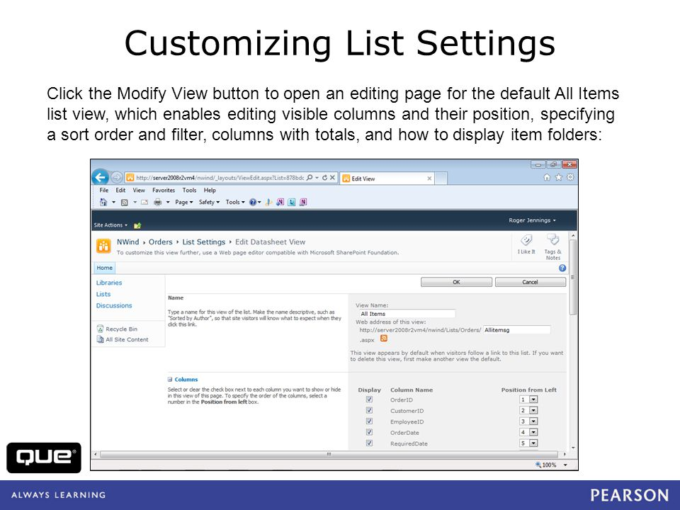 Customizing List Settings