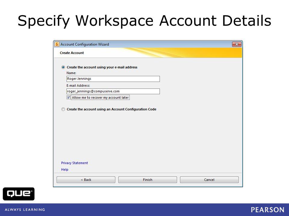 Specify Workspace Account Details