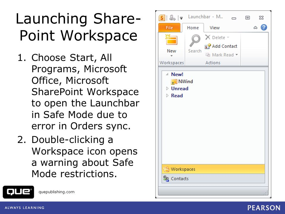 Launching Share- Point Workspace