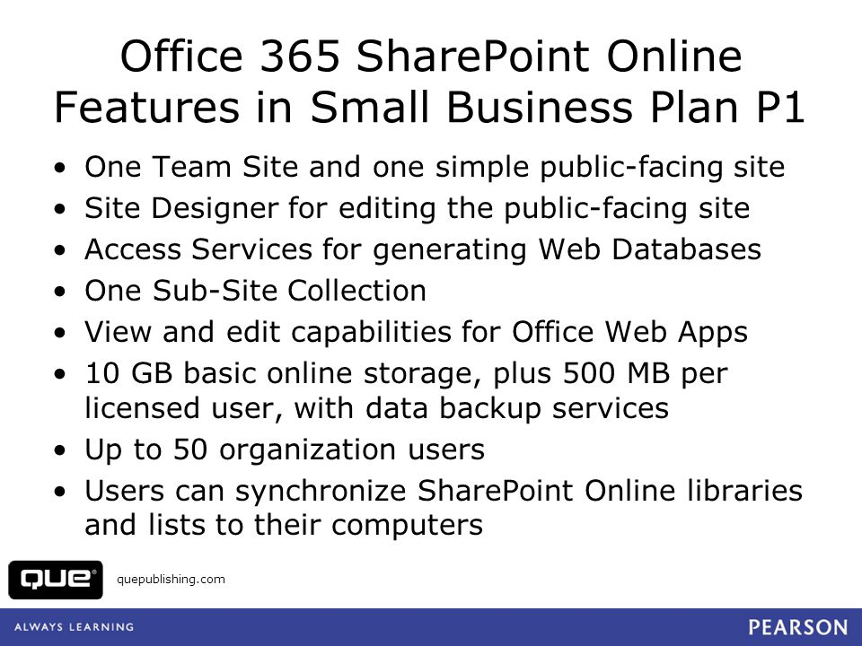 Office 365 SharePoint Online Features in Small Business Plan P1