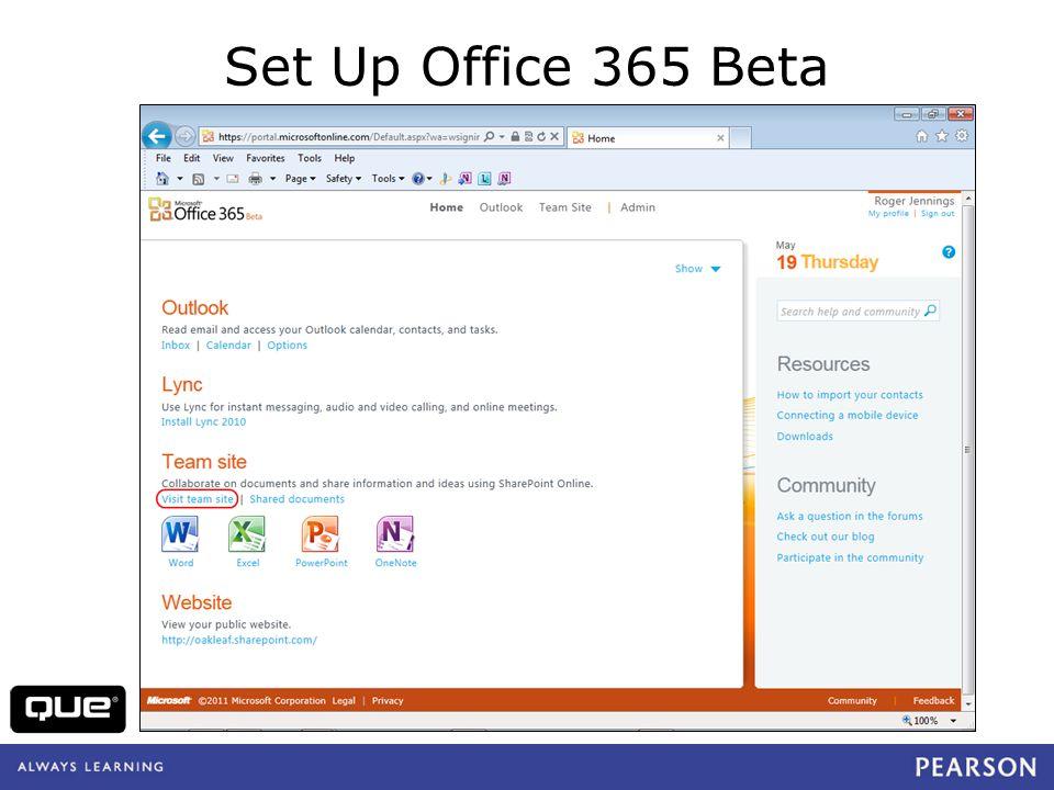 Set Up Office 365 Beta