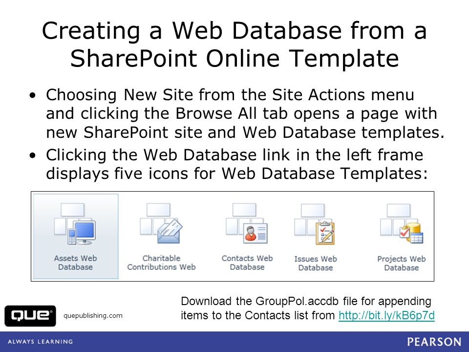 Creating a Web Database from a SharePoint Online Template