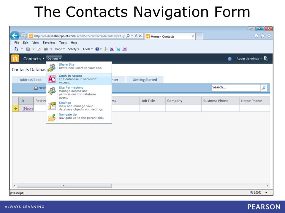 The Contacts Navigation Form