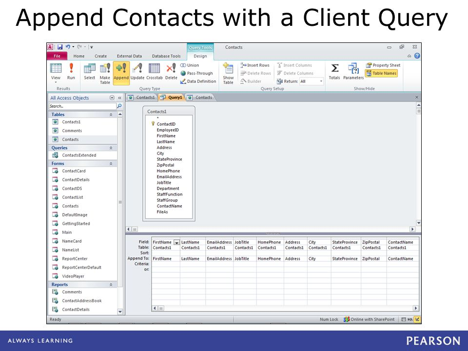 Append Contacts with a Client Query