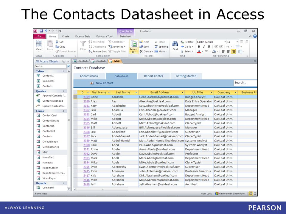 The Contacts Datasheet in Access