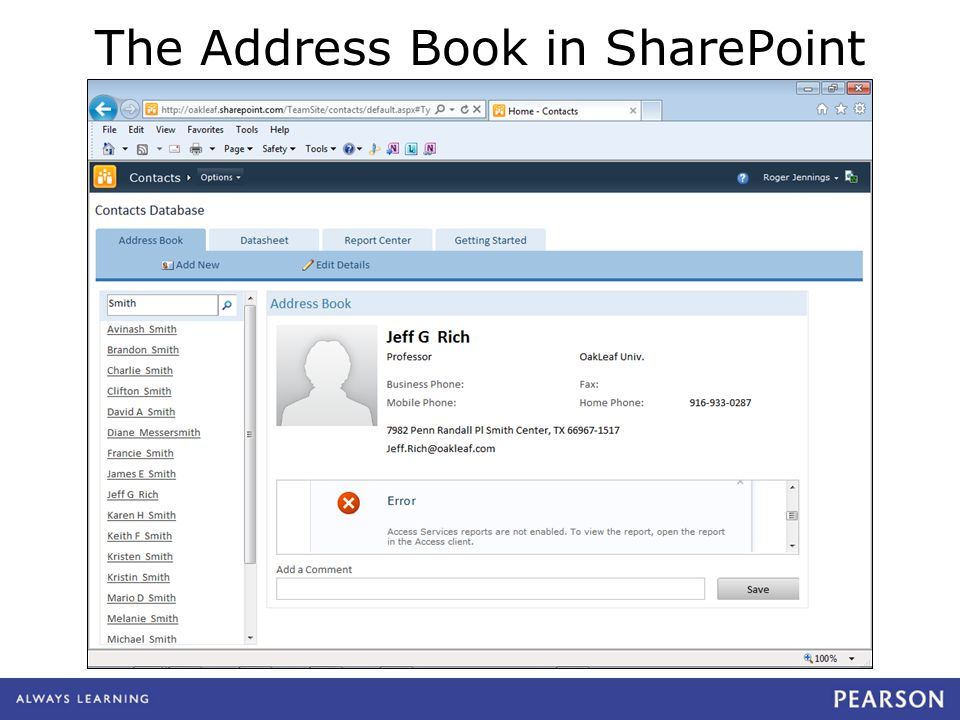The Address Book in SharePoint