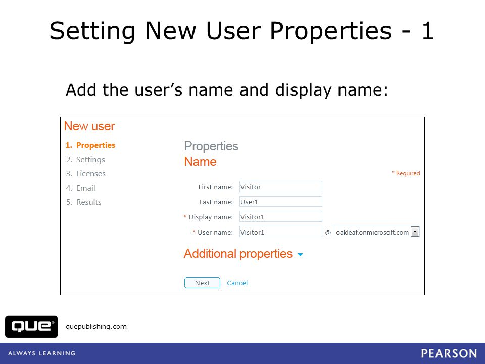 Setting New User Properties - 1