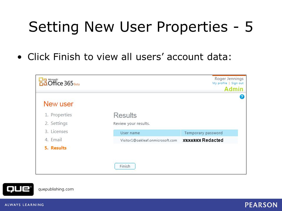Setting New User Properties - 5