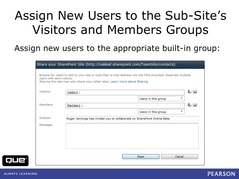 Assign New Users to the Sub-Site's Visitors and Members Groups