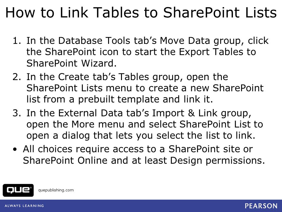 How to Link Tables to SharePoint Lists