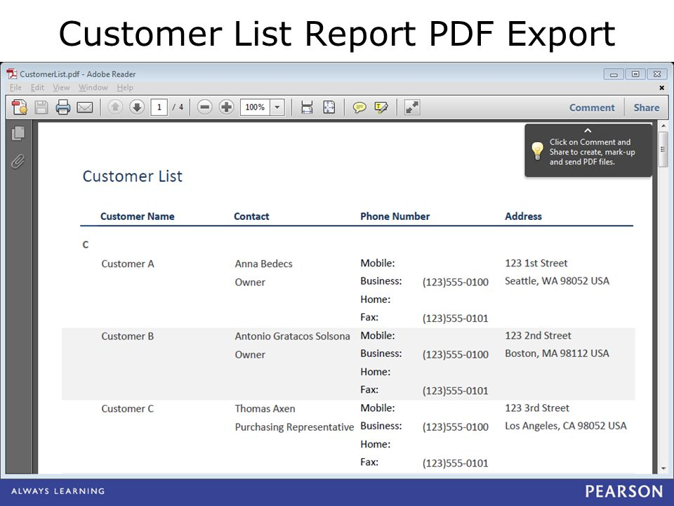 Customer List Report PDF Export