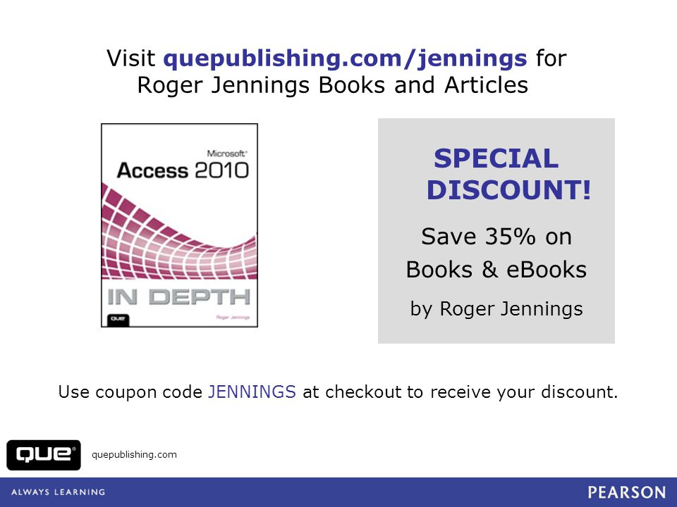 Visit quepublishing.com/jennings for Roger Jennings Books and Articles