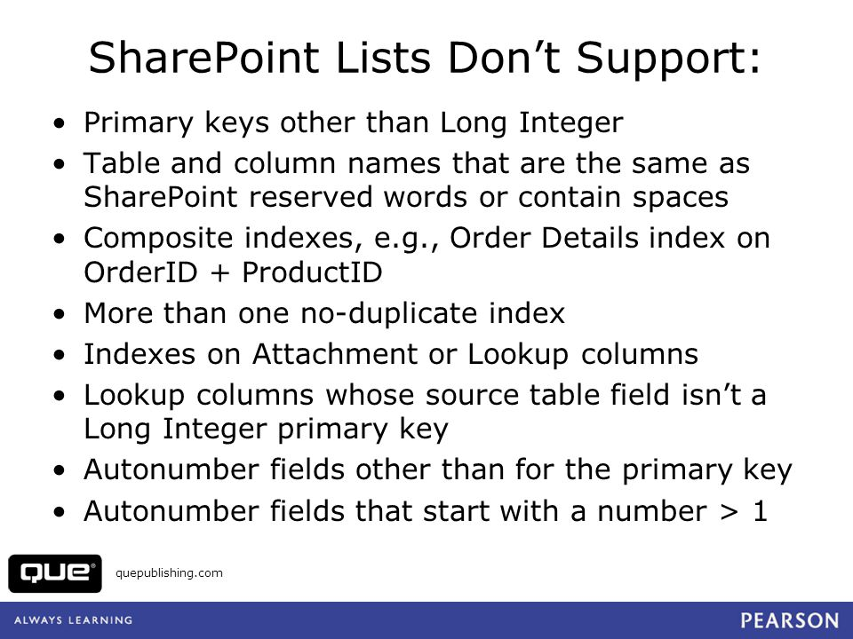 SharePoint Lists Don't Support: