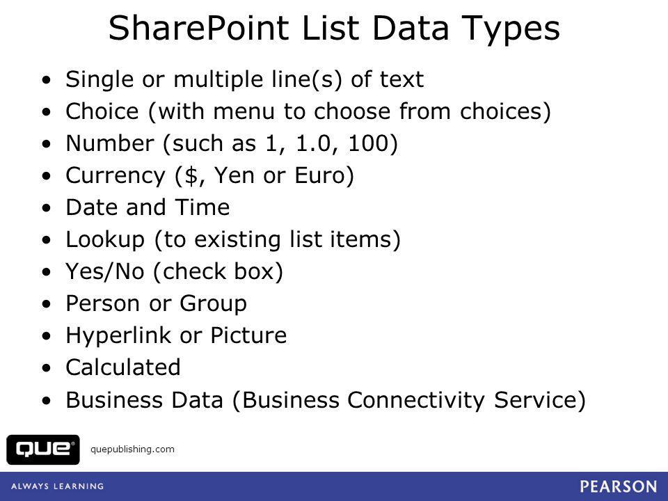 SharePoint List Data Types