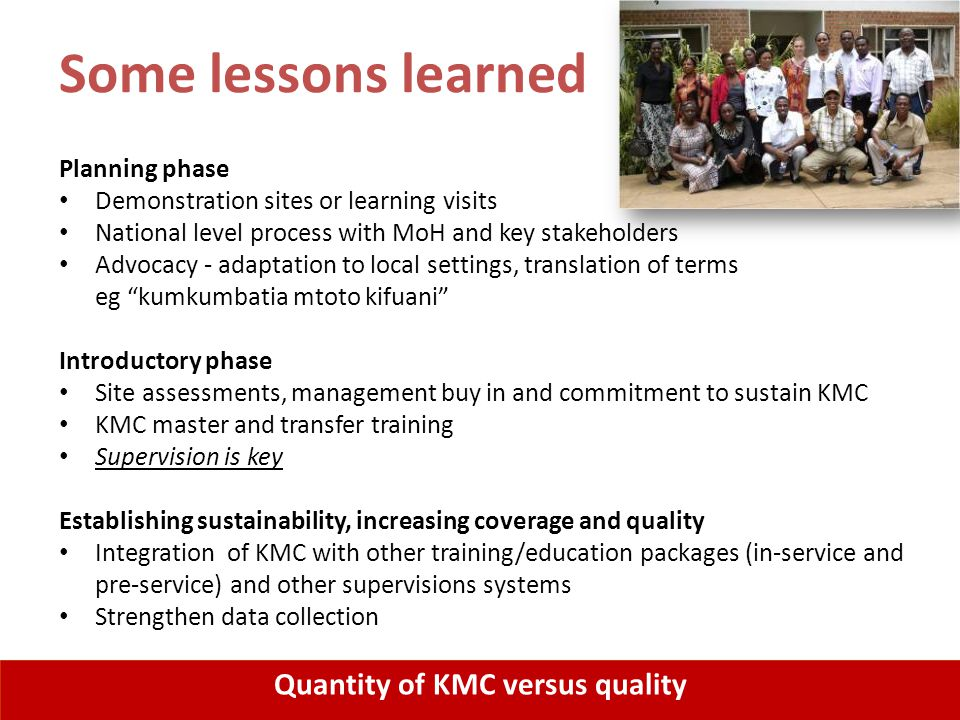 Quantity of KMC versus quality