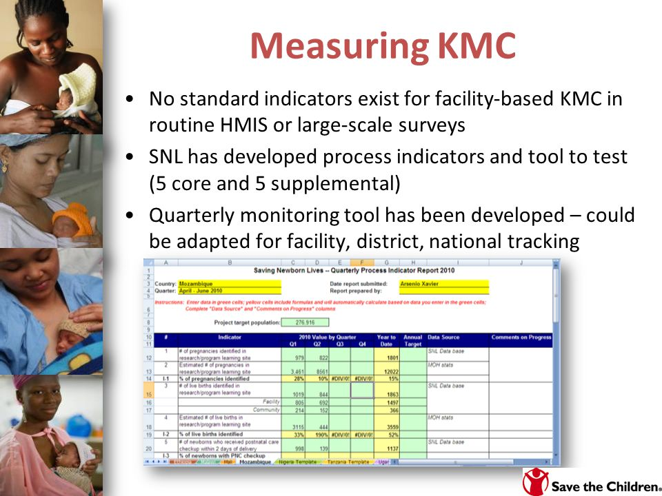 Measuring KMC No standard indicators exist for facility-based KMC in routine HMIS or large-scale surveys.