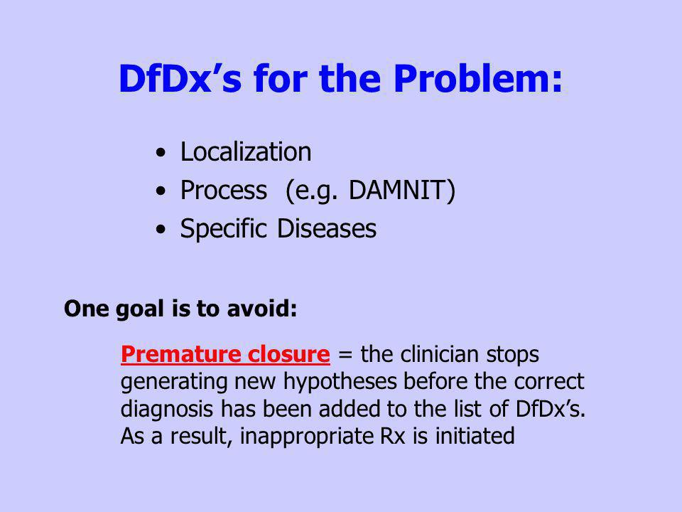 DfDx's for the Problem: