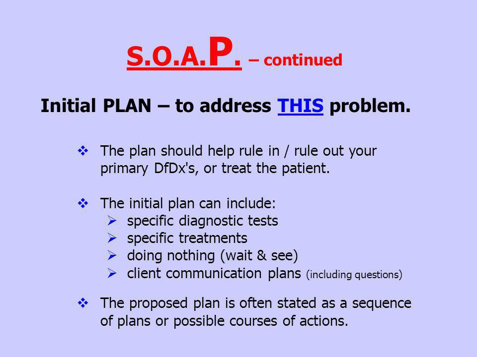 S.O.A.P. – continued Initial PLAN – to address THIS problem.