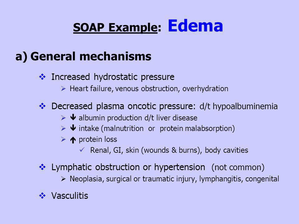 SOAP Example: Edema General mechanisms Increased hydrostatic pressure