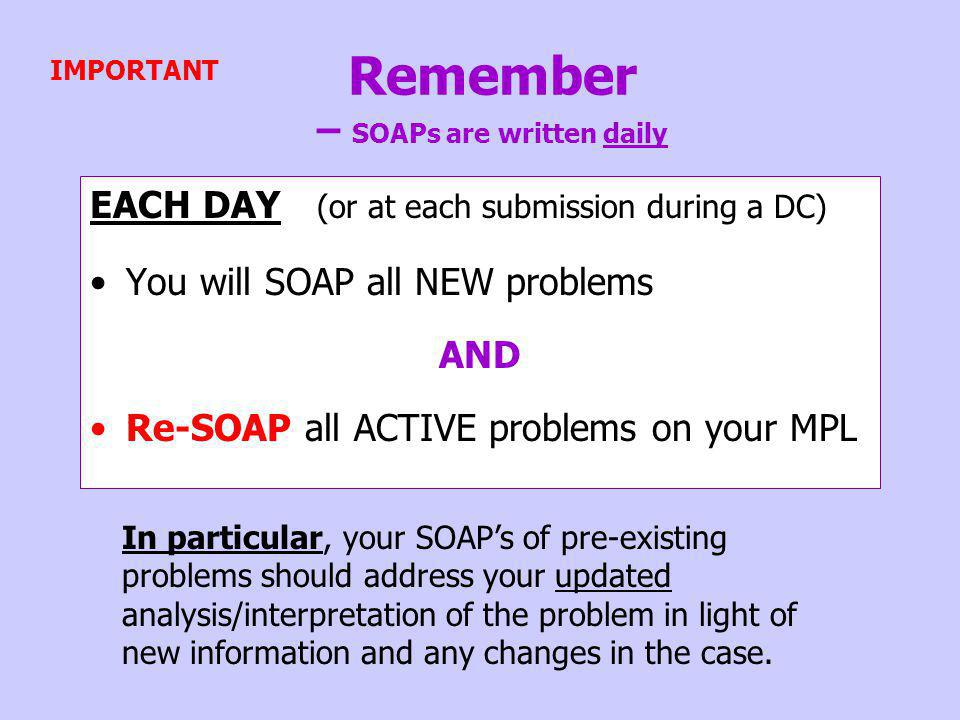 Remember – SOAPs are written daily