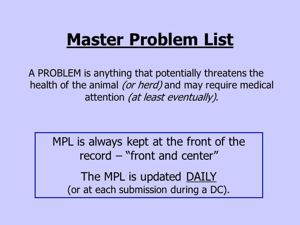 Master Problem List