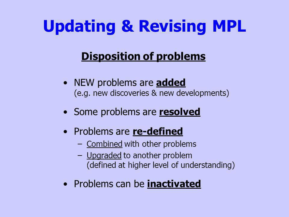 Updating & Revising MPL