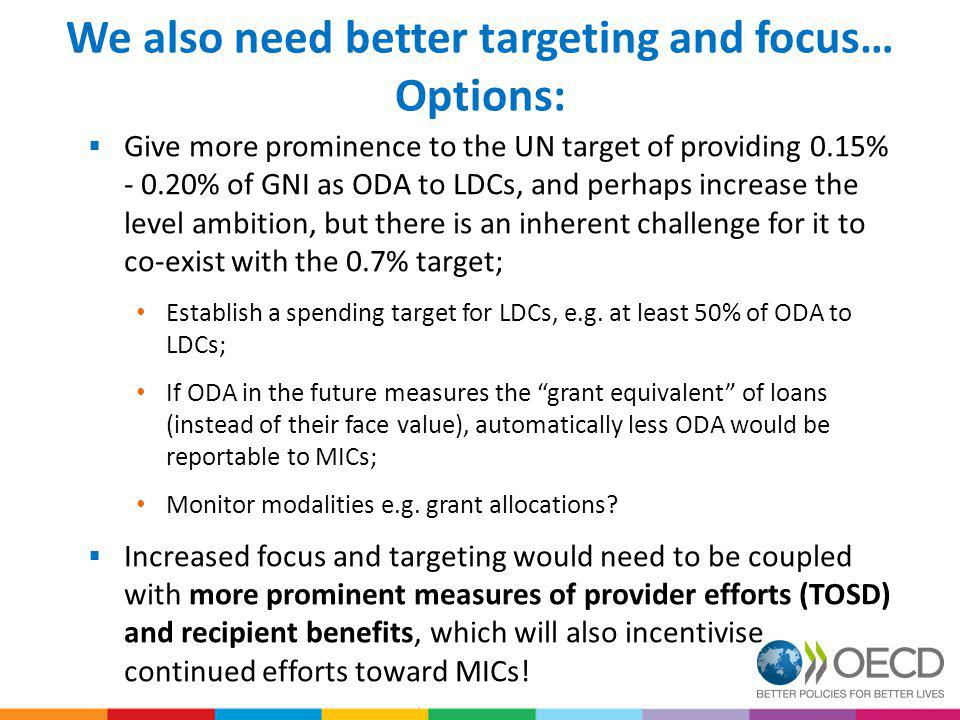 We also need better targeting and focus… Options: