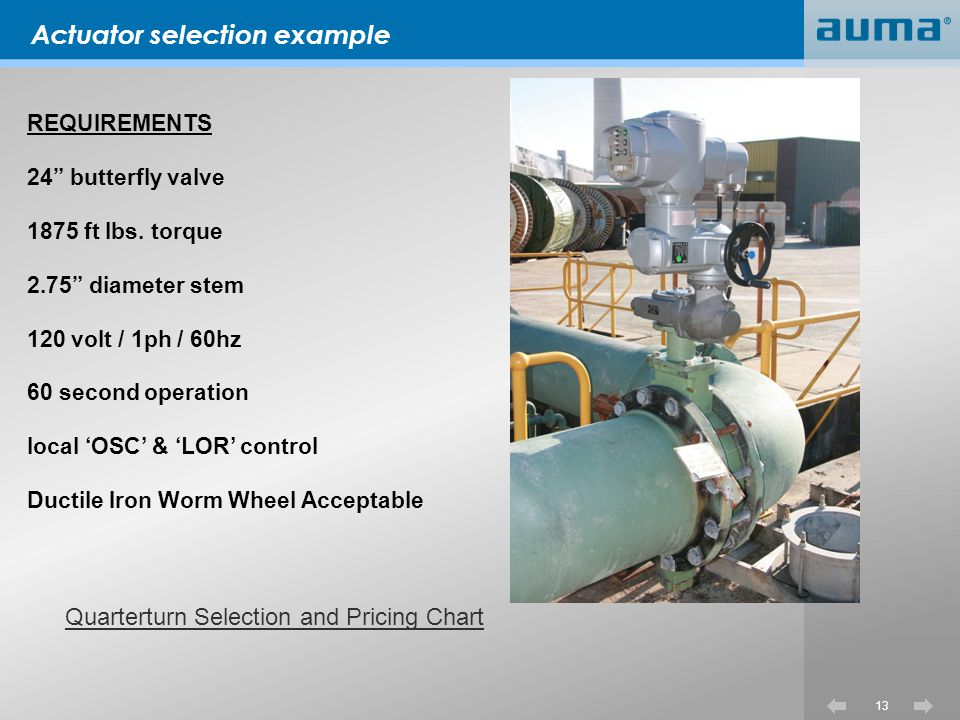 Actuator selection example