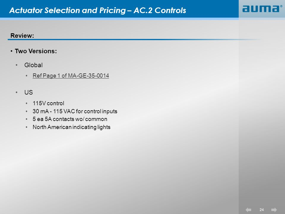 Actuator Selection and Pricing – AC.2 Controls
