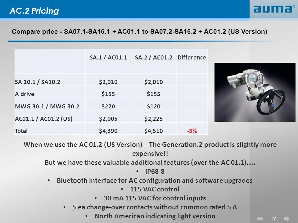 AC.2 Pricing Compare price - SA07.1-SA16.1 + AC01.1 to SA07.2-SA16.2 + AC01.2 (US Version) SA.1 / AC01.1.