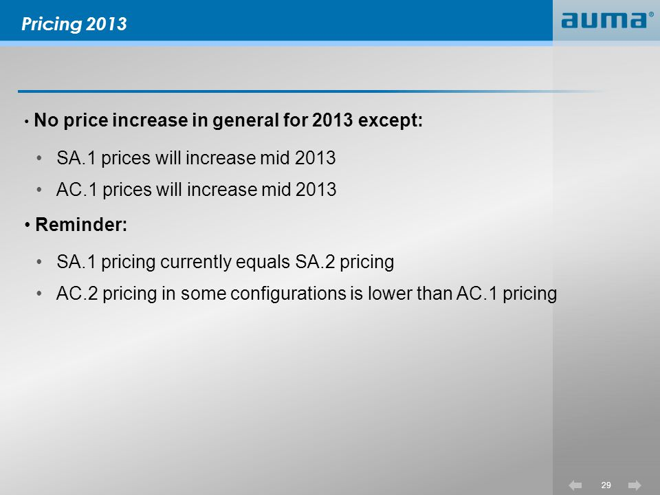 SA.1 prices will increase mid 2013 AC.1 prices will increase mid 2013