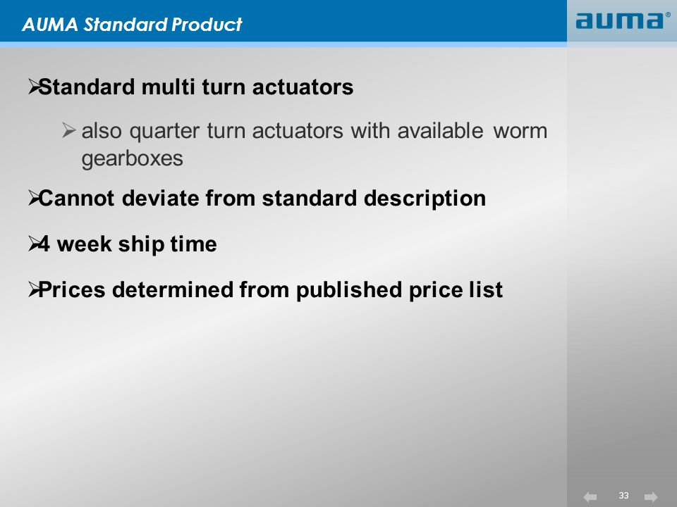 Standard multi turn actuators