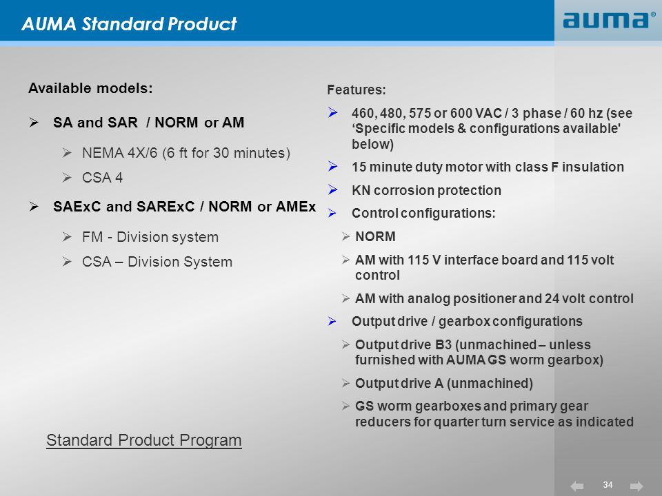 AUMA Standard Product Standard Product Program Available models: