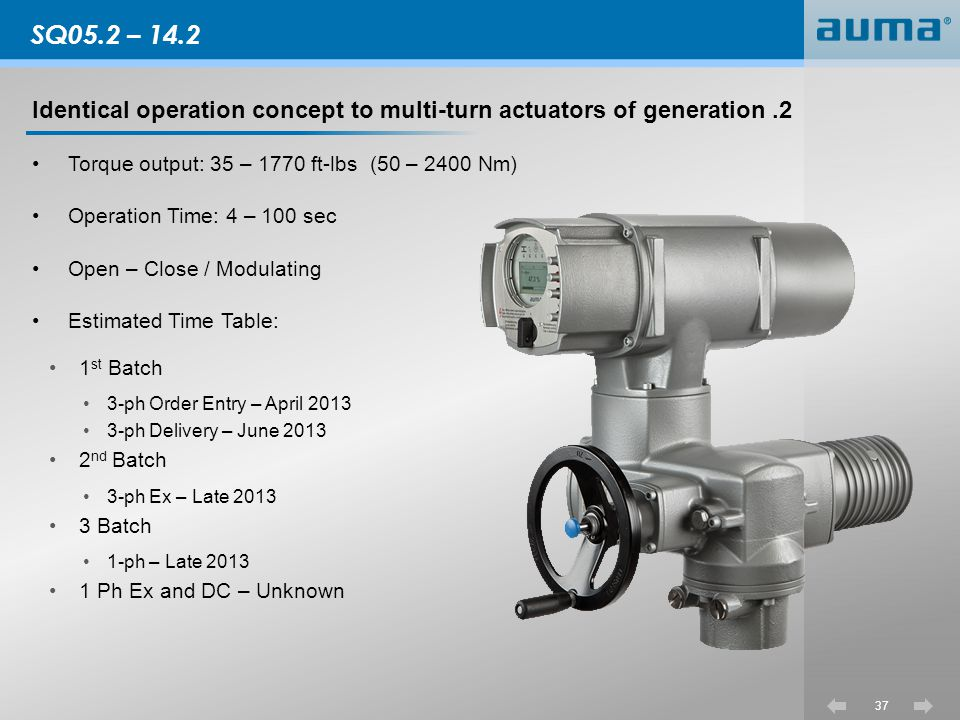 SQ05.2 – 14.2 Identical operation concept to multi-turn actuators of generation .2. Torque output: 35 – 1770 ft-lbs (50 – 2400 Nm)