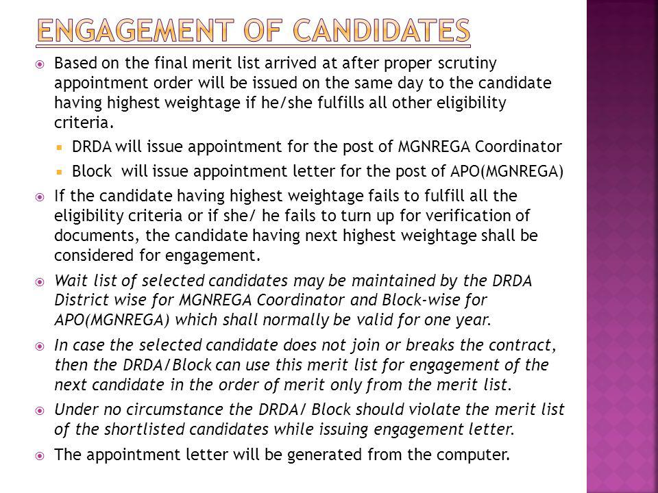 Engagement of Candidates