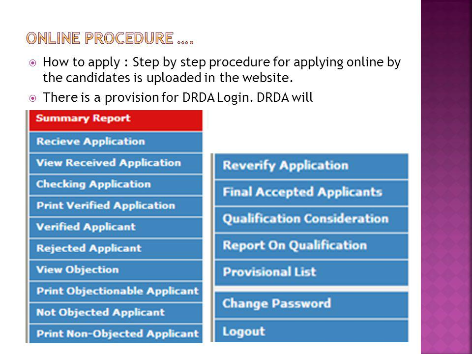 Online procedure …. How to apply : Step by step procedure for applying online by the candidates is uploaded in the website.