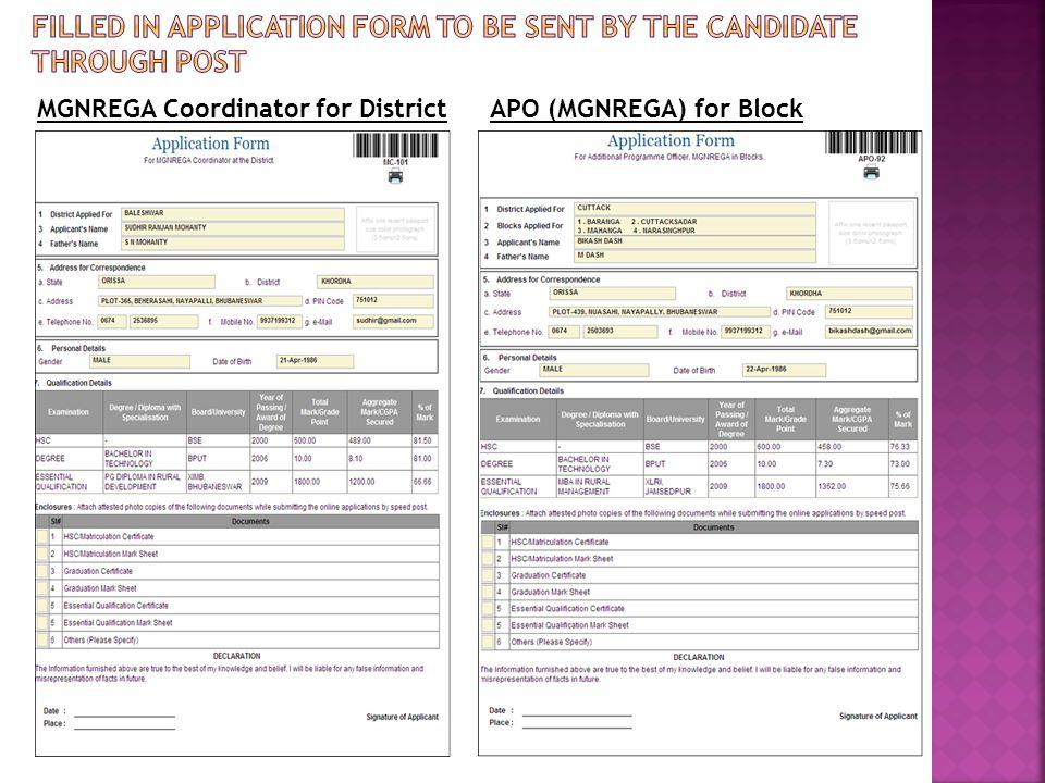 Filled in application form to be sent by the candidate through post