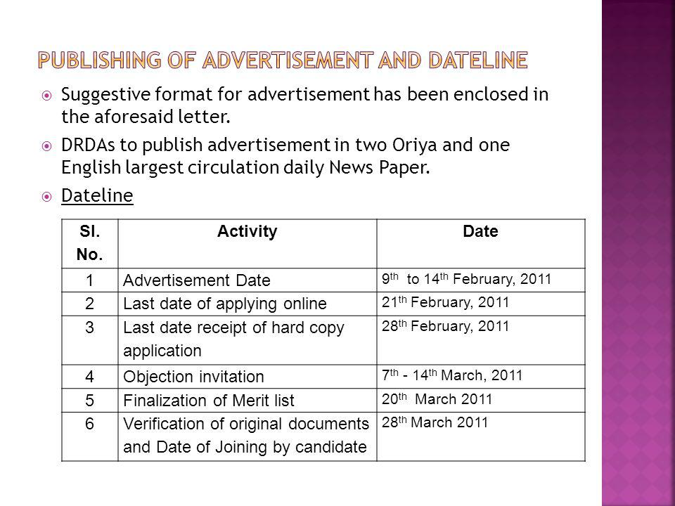 Publishing of advertisement and dateline
