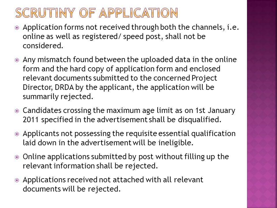 SCRUTINY OF APPLICATION