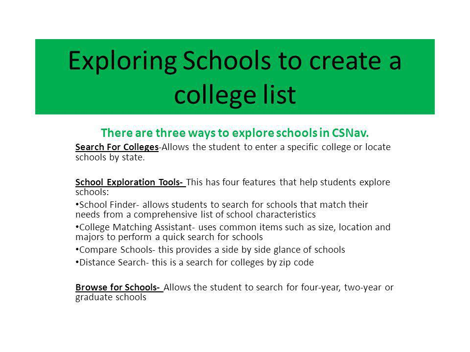 Exploring Schools to create a college list