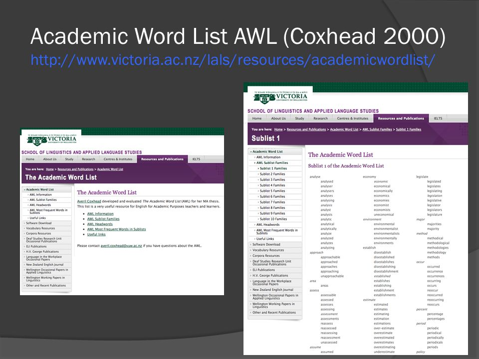 Academic Word List AWL (Coxhead 2000) http://www. victoria. ac