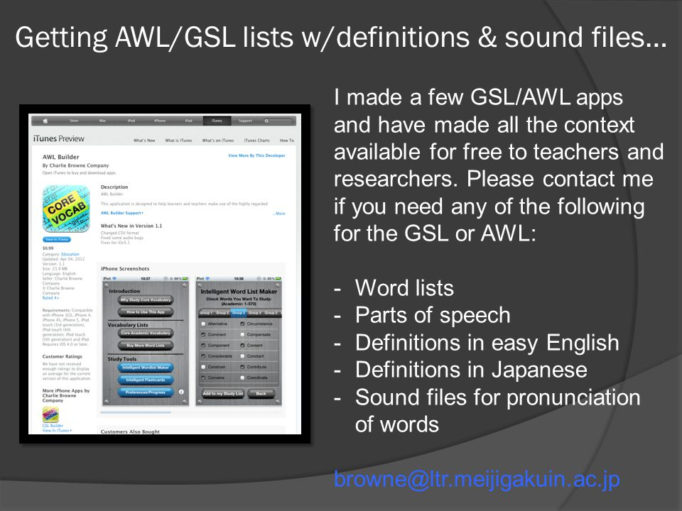 Getting AWL/GSL lists w/definitions & sound files…