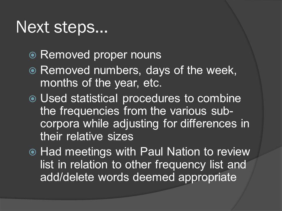 Next steps… Removed proper nouns