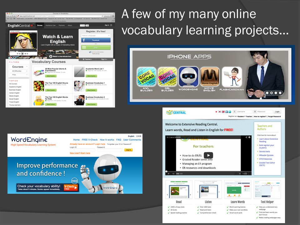 A few of my many online vocabulary learning projects…
