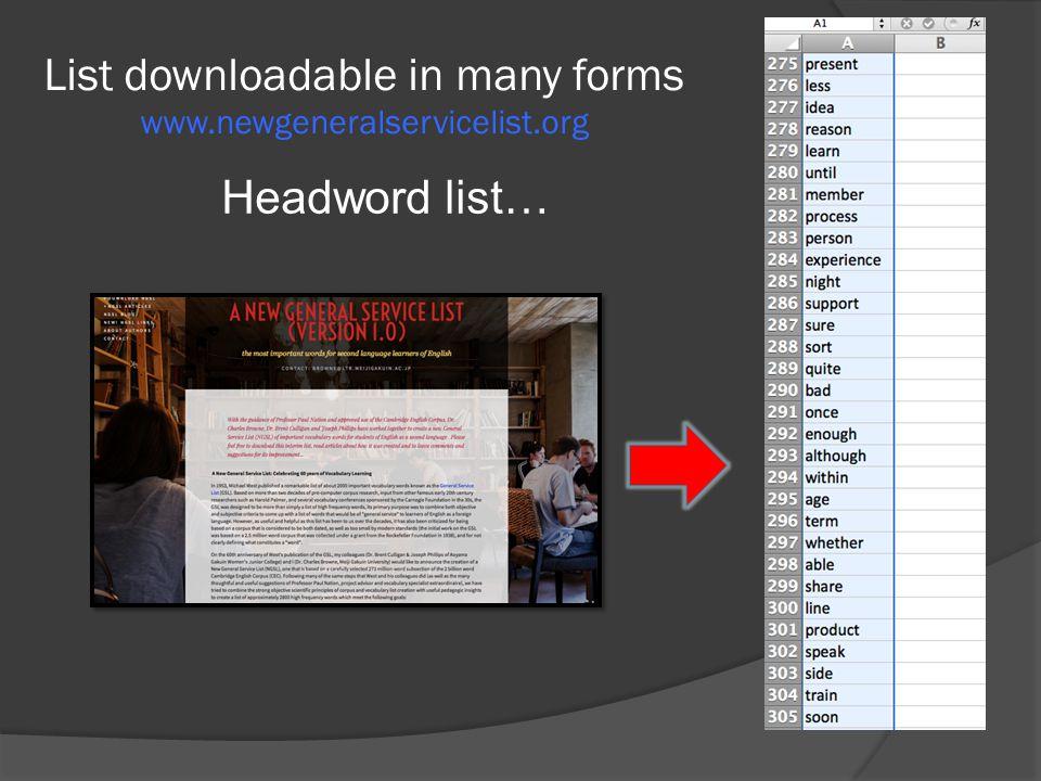 List downloadable in many forms www.newgeneralservicelist.org