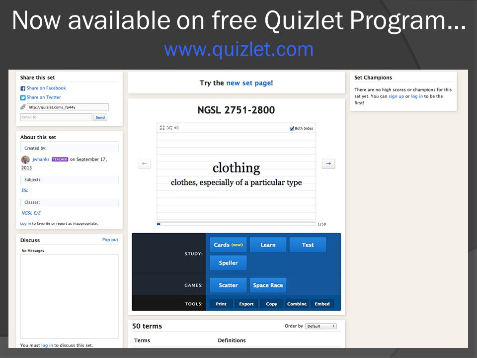 Now available on free Quizlet Program… www.quizlet.com