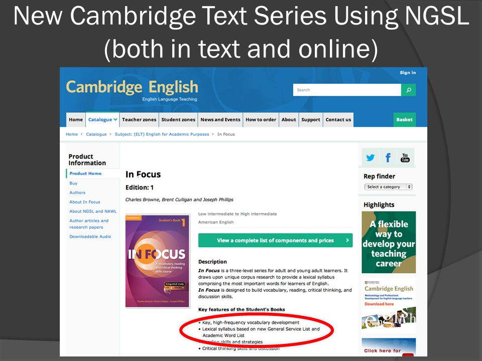 New Cambridge Text Series Using NGSL (both in text and online)