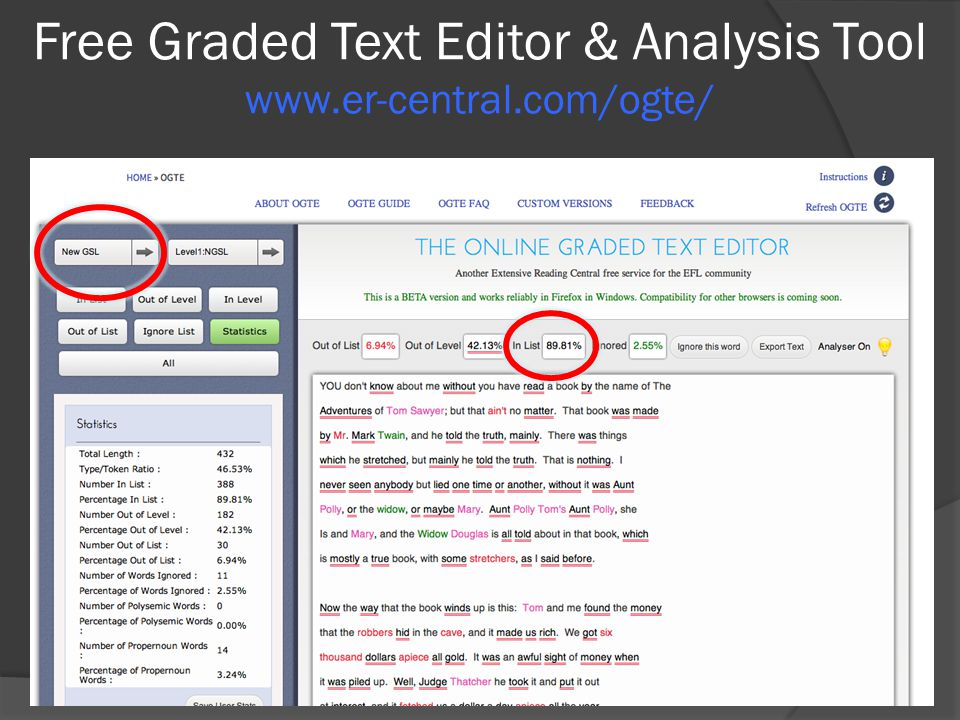 Free Graded Text Editor & Analysis Tool www.er-central.com/ogte/