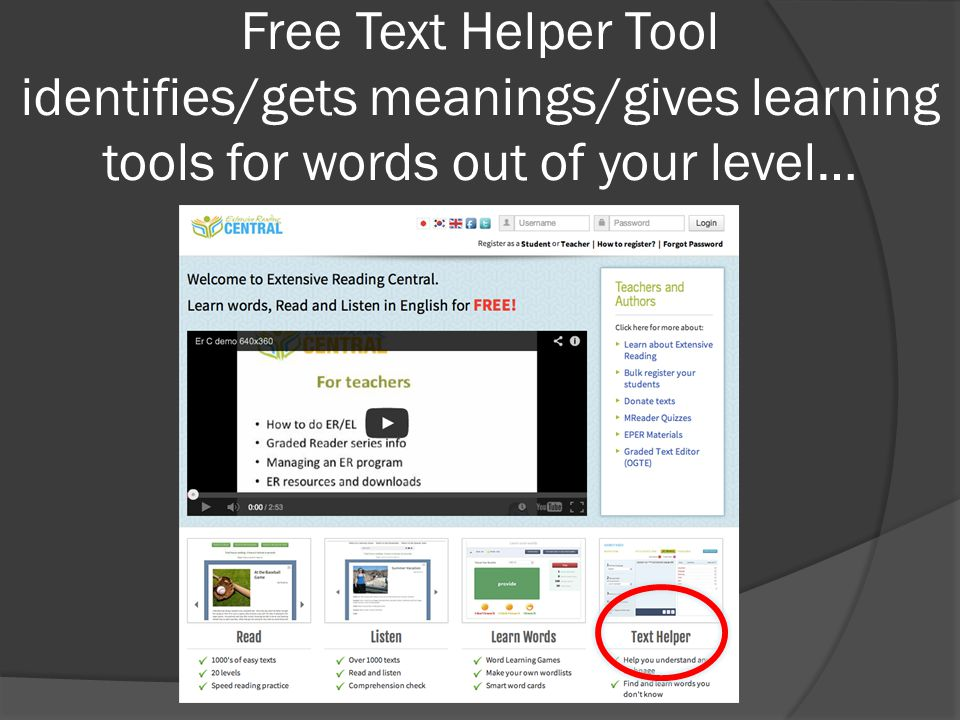 Free Text Helper Tool identifies/gets meanings/gives learning tools for words out of your level…
