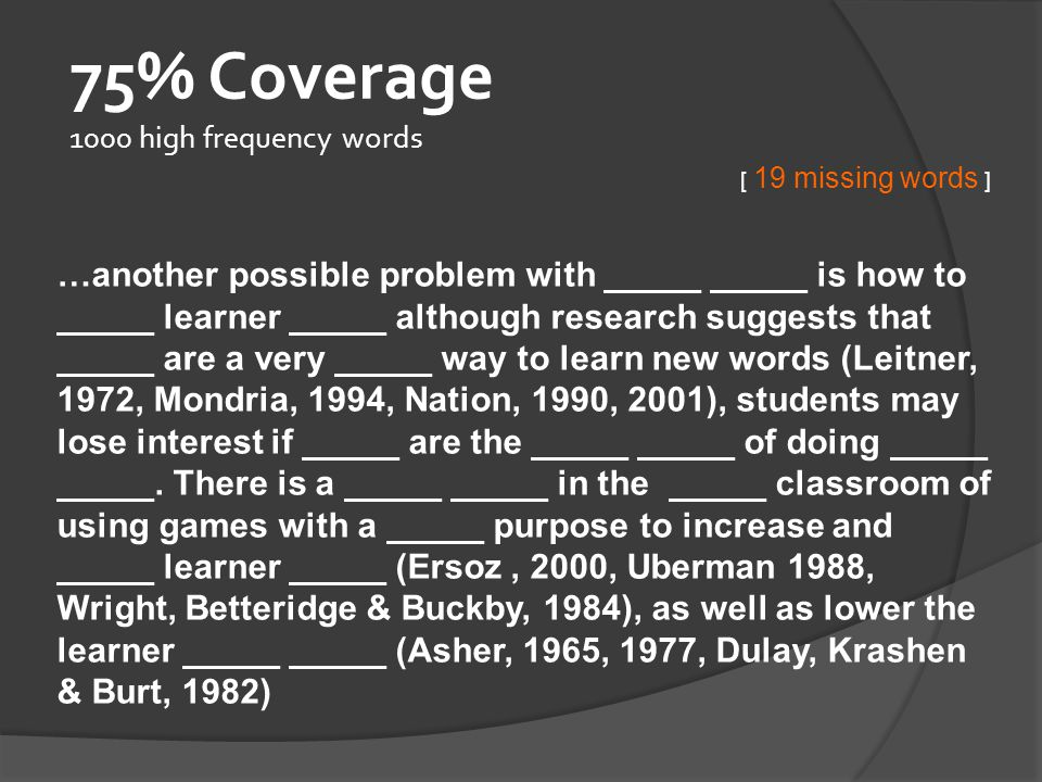 75% Coverage 1000 high frequency words
